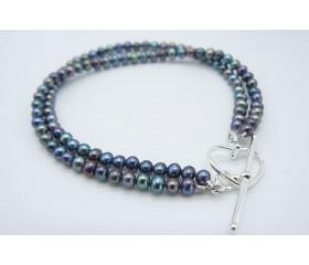 Grey Smallest Round Pearl Two Strand Bracelet