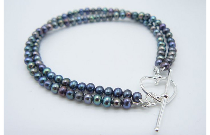 Grey Smallest Round Pearl Two Strand Bracelet