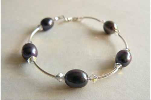 Grey Oval Pearl & Crystal Bangle Bracelet