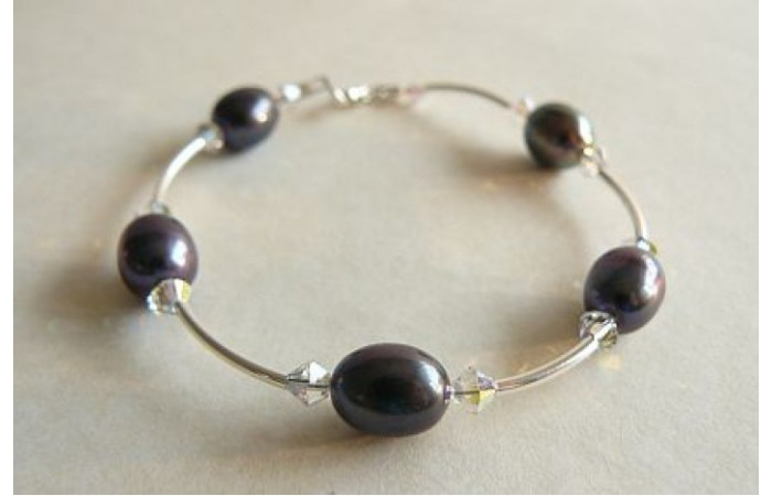 Grey Oval Pearl & Crystal Bangle Bracelet