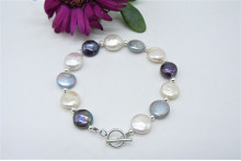 White Silver & Grey Small Coin Pearl Bracelet