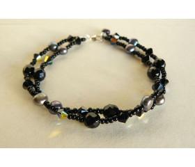 Black Swarovski Crystal Beads & Pearl Bracelet