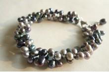 Grey & Silver Head-Drilled Bracelet
