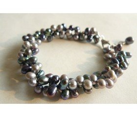 Grey & Silver Head-Drilled Bracelet