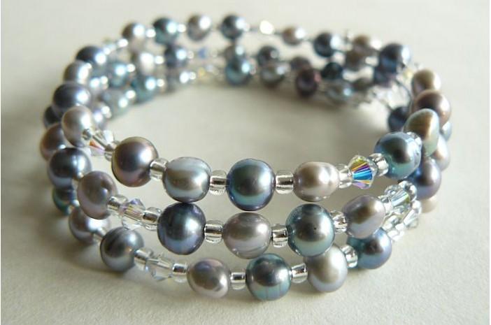 Grey & Silver Pearl Memory Wire Bracelet