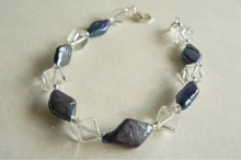 Grey Diamond Pearls & Crystal Cube Bracelet
