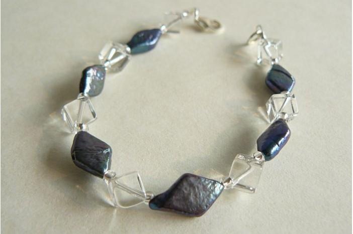 Grey Diamond Pearls & Crystal Cube Bracelet