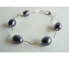 Grey Pearl & Spiral Tube Bracelet