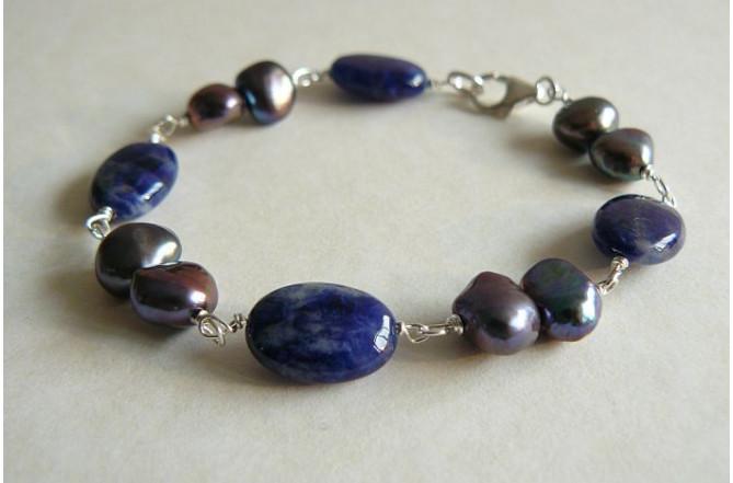 Grey Pearl & Lapis Silver Linked Bracelet
