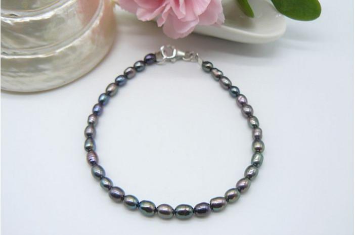 Grey Smallest Oval Pearl Bracelet