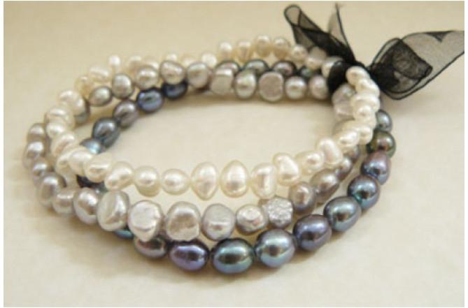 Grey, Silver & White Pearl Elastic Bracelets x 3