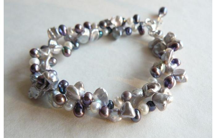 Silver Grey & White Keshi Multi Strand Bracelet