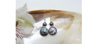 Grey Coin & Round Pearl Drop Earrings