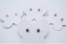 Grey Pearl Stud Earrings - X-Small
