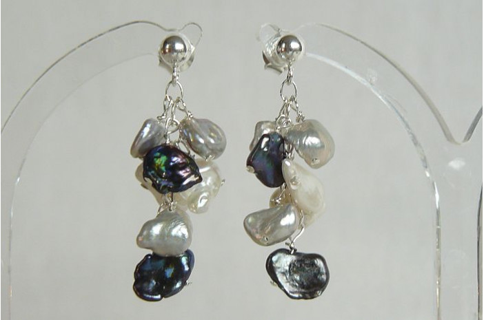 Grey & Silver Keshi Pearl Drop Earrings