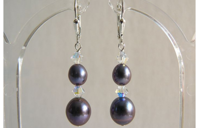 Grey Pearl & Crystal Drop Earrings