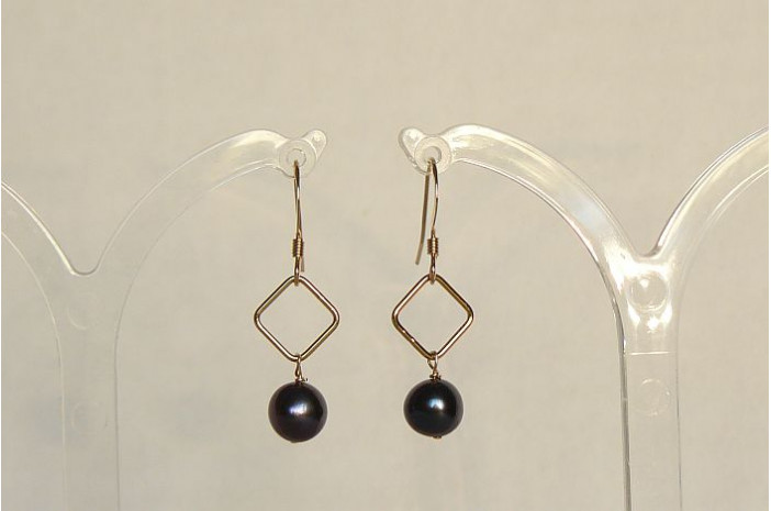 Grey Pearl on Gold Diamond Drop Earrings