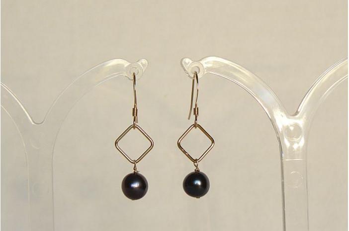 Grey Pearl on Gold Diamond Drop Earrings
