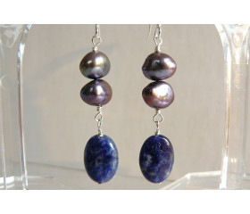Grey Pearl & Lapis Drop Earrings