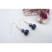 Grey Pearl & Lapis Lazuli Drop Earrings