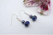 Grey Pearl & Lapis Lazuli Drop Earrings