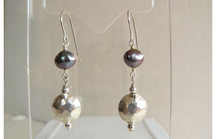 Grey Pearl & Thai Silver Hammered Disc Drop Earrings