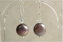 Grey Coin Pearl & Swarovski Crystal Drop Earrings