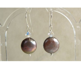 Grey Coin Pearl & Swarovski Crystal Drop Earrings