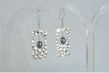 Sterling Silver Hammered Rectangle & Pearl Drop Earrings