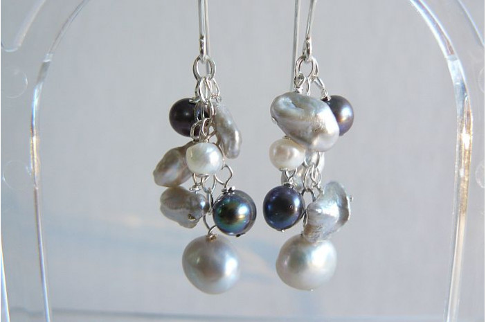 Silver Grey & White Keshi Pearl Drop Earrings