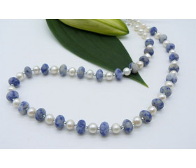 White Pearl & Blue Spot Jasper Necklace
