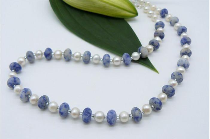 White Pearl & Blue Spot Jasper Necklace