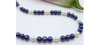 Blue & White Round Pearl Necklace