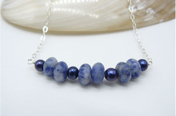 Blue Pearl and Blue Spot Jasper on Silver Chain Necklace