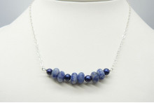 Blue Pearl and Blue Spot Jasper on Silver or Gold Chain Necklace