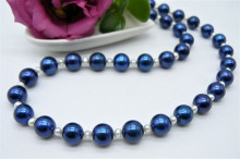 Bright Blue Large Round Pearl Necklace
