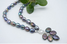 Grey Irregular Pearl Necklace & Pearl Cluster Drop