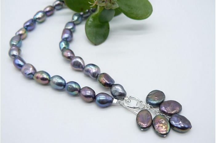 Grey Irregular Pearl Necklace & Pearl Cluster Drop