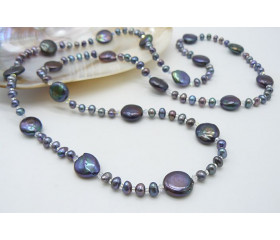 Grey Coin & Round Pearl Long Necklace