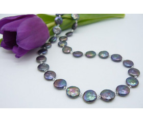Grey Coin Pearl Necklace