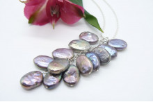 Grey Flat Oval Pearl Cluster Long Necklace
