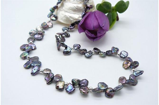 Grey Large Keshi Pearl Necklace
