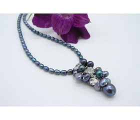 Grey Pearl Cluster Necklace