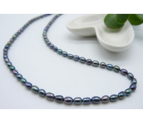 Grey Smallest Oval Pearl Necklace