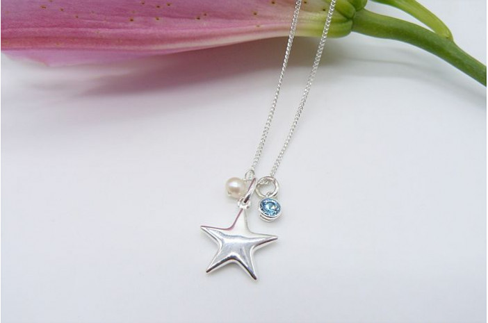 Sterling Silver Star & Aquamarine Pendant Necklace