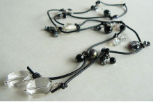 Grey Pearls & Crystal Lariat on Leather