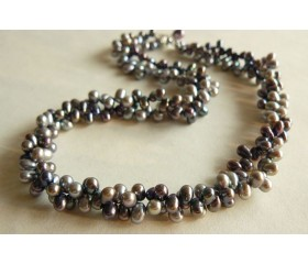 Grey & Silver Top-Drill Twisted Pearl Necklace