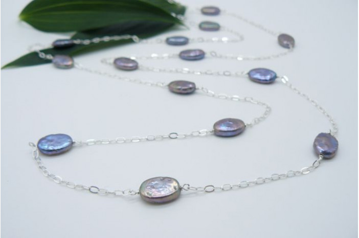 Grey Flat Oval Pearl Long Necklace on Silver Chain