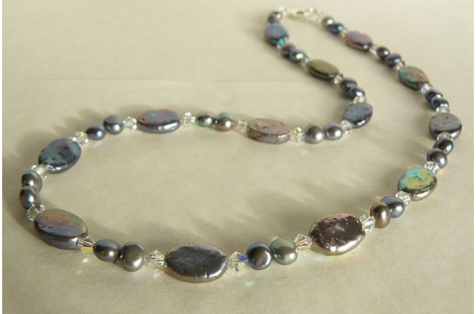Grey Flat Oval Pearl & Crystal Necklace