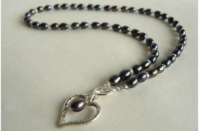 Grey Oval Pearls & Silver Open Heart Necklace